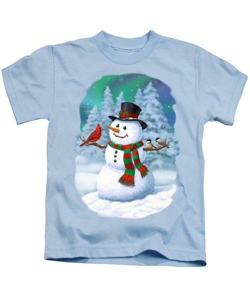 Sharing The Wonder - Christmas Snowman And Birds Kids T-Shirt by Crista Forest