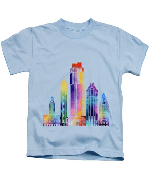 Austin Landmarks Watercolor Poster Kids T-Shirt by Pablo Romero