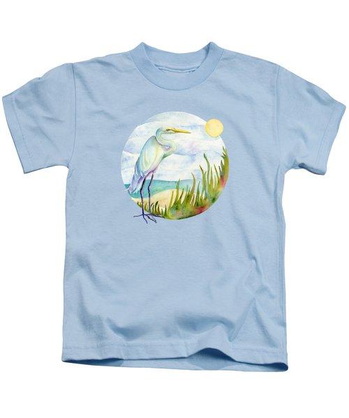 Beach Heron Kids T-Shirt by Amy Kirkpatrick