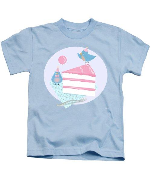 Bluebirds Love Birthday Cake Kids T-Shirt by Little Bunny Sunshine