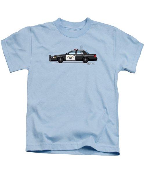 California Highway Patrol Ford Crown Victoria Police Interceptor Kids T-Shirt by Monkey Crisis On Mars