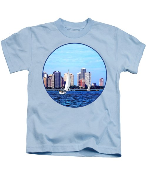 Chicago Il - Two Sailboats Against Chicago Skyline Kids T-Shirt by Susan Savad
