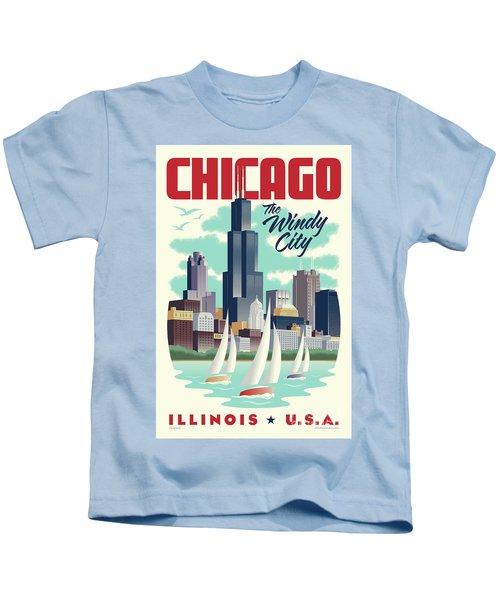 Chicago Retro Travel Poster Kids T-Shirt by Jim Zahniser