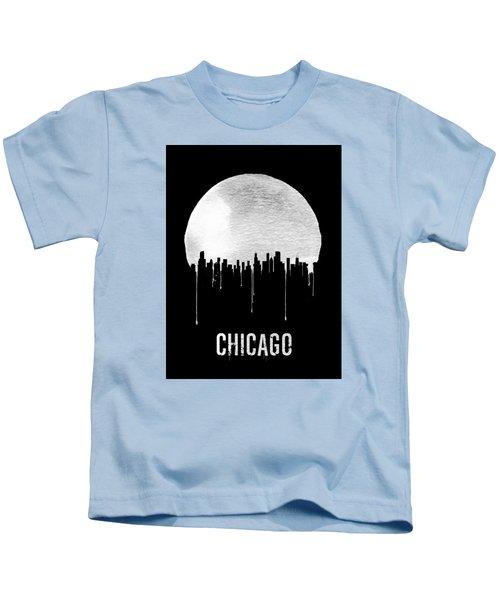 Chicago Skyline Black Kids T-Shirt by Naxart Studio
