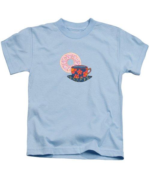 Coffee And Donuts Kids T-Shirt by Kathleen Sartoris