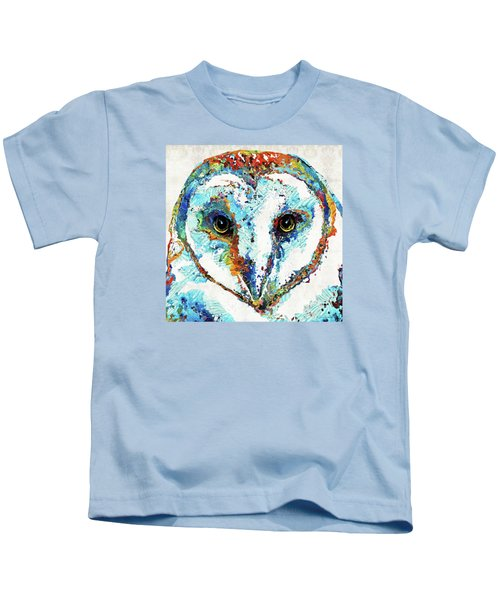 Colorful Barn Owl Art - Sharon Cummings Kids T-Shirt by Sharon Cummings