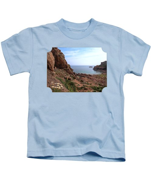 Daisies In The Granite Rocks At Corbiere Kids T-Shirt by Gill Billington