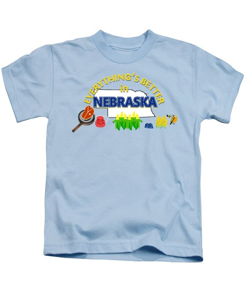 Everything's Better In Nebraska Kids T-Shirt by Pharris Art