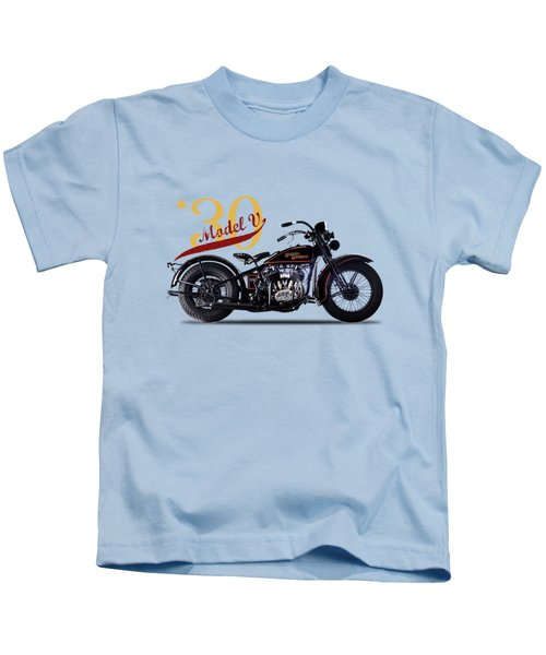 Harley-davidson Model V 1930 Kids T-Shirt by Mark Rogan