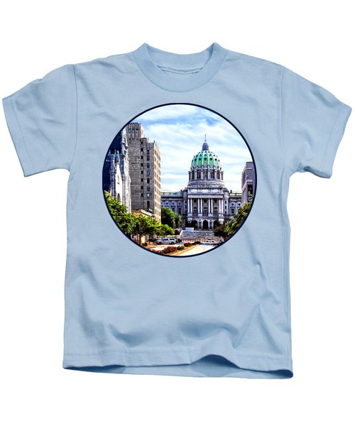 Harrisburg Pa - Capitol Building Seen From State Street Kids T-Shirt by Susan Savad