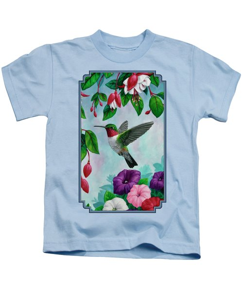 Hummingbird Greeting Card 1 Kids T-Shirt by Crista Forest