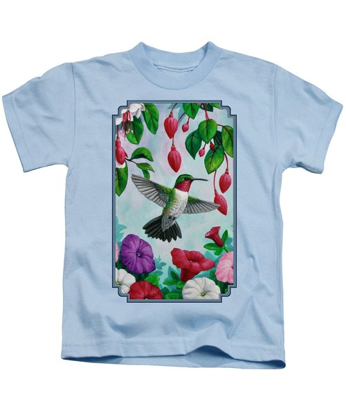 Hummingbird Greeting Card 2 Kids T-Shirt by Crista Forest