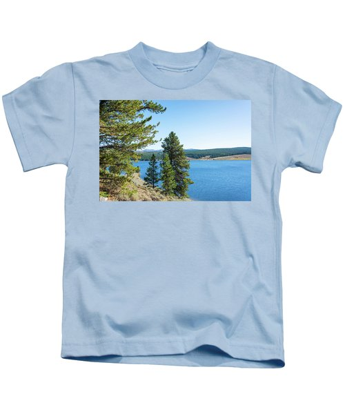 Meadowlark Lake And Trees Kids T-Shirt by Jess Kraft