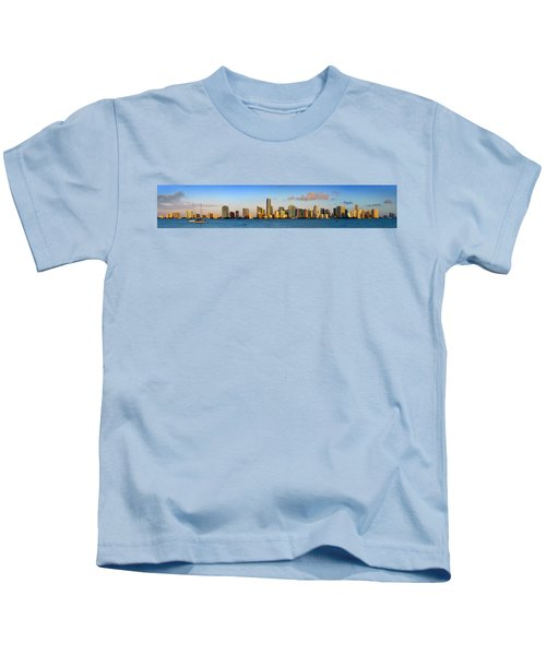 Miami Skyline In Morning Daytime Panorama Kids T-Shirt by Jon Holiday