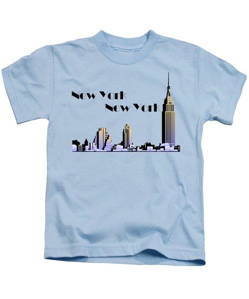 New York New York Skyline Retro 1930s Style Kids T-Shirt by Heidi De Leeuw