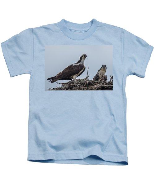 Osprey On A Nest Kids T-Shirt by Paul Freidlund
