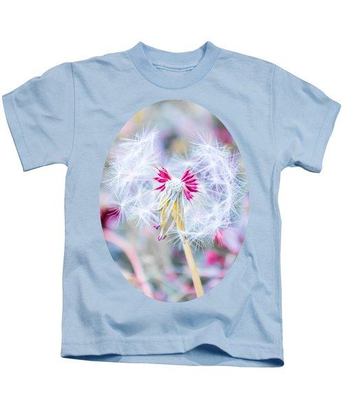 Pink Dandelion Kids T-Shirt by Parker Cunningham