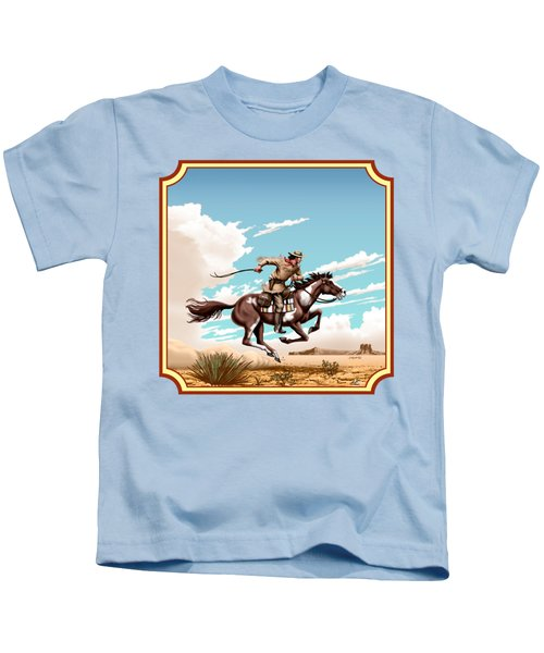 Pony Express Rider - Western Americana - Square Format Kids T-Shirt by Walt Curlee