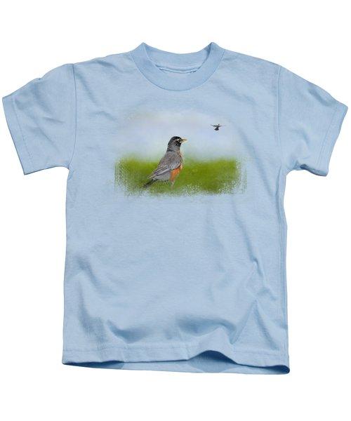 Robin In The Field Kids T-Shirt by Jai Johnson