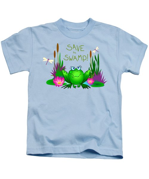 Save The Swamp Twitchy The Frog Kids T-Shirt by M Sylvia Chaume