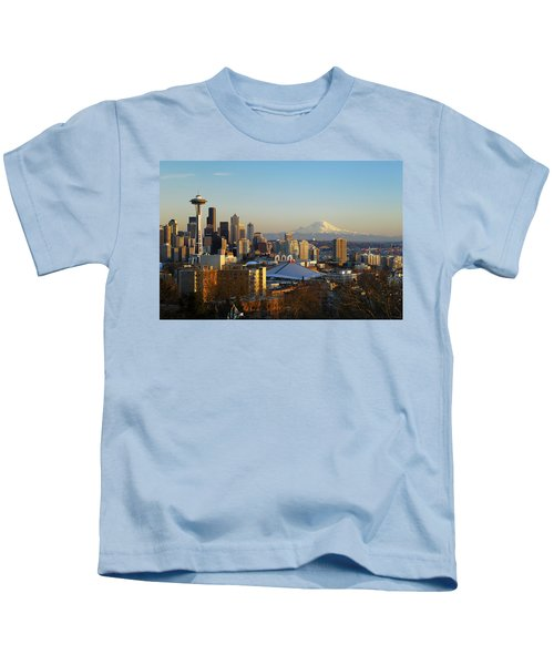 Seattle Cityscape Kids T-Shirt by Greg Vaughn - Printscapes