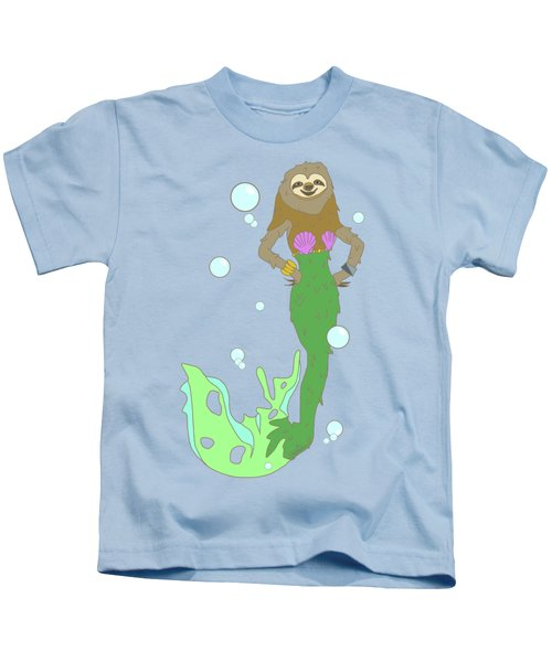 Sloth Mermaid Kids T-Shirt by Notsniw Art