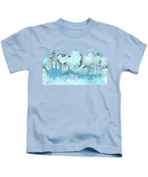Smudge Philadelphia Skylines Kids T-Shirt by Alberto RuiZ