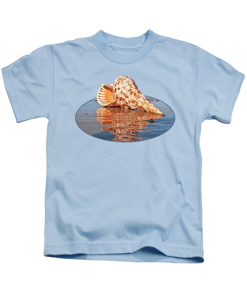 Sounds Of The Ocean - Trumpet Triton Seashell Kids T-Shirt by Gill Billington