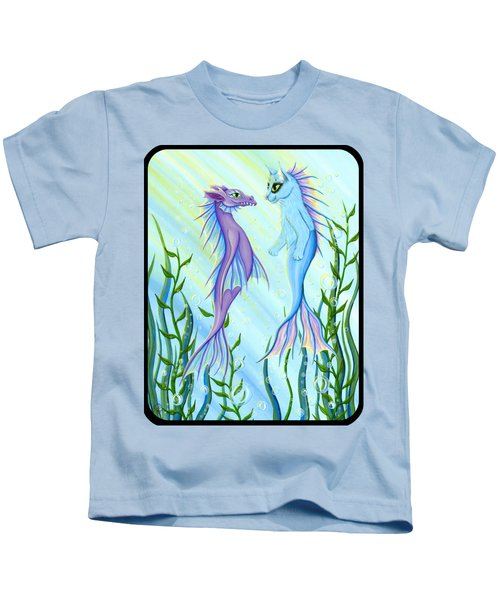 Sunrise Swim - Sea Dragon Mermaid Cat Kids T-Shirt by Carrie Hawks