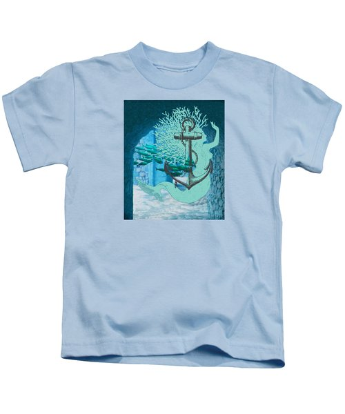 The Mermaid The Anchor And School Of Fish In The Underwater Ruins Kids T-Shirt by Sandra McGinley