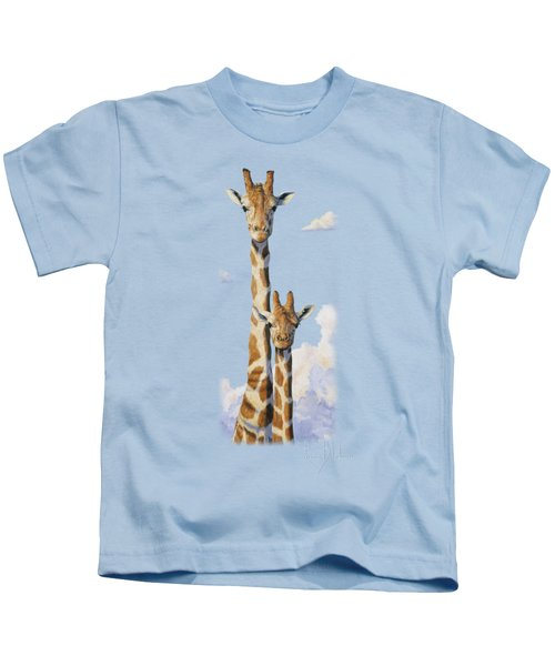 Two Heads In The Clouds Kids T-Shirt by Lucie Bilodeau