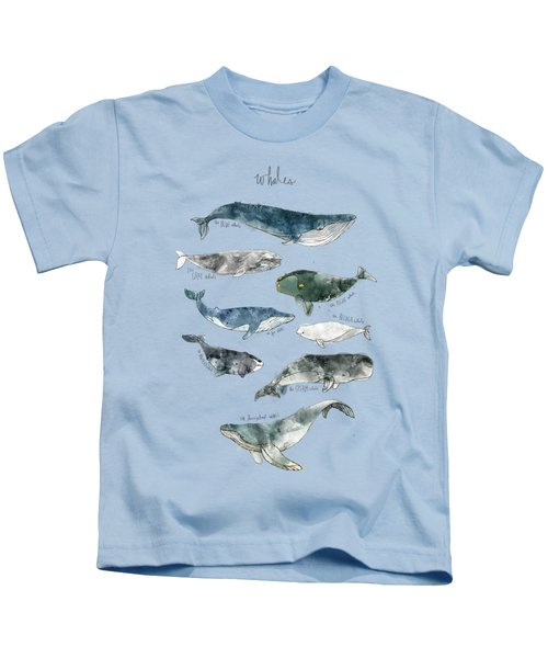Whales Kids T-Shirt by Amy Hamilton