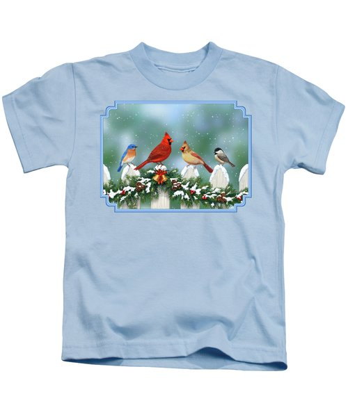 Winter Birds And Christmas Garland Kids T-Shirt by Crista Forest