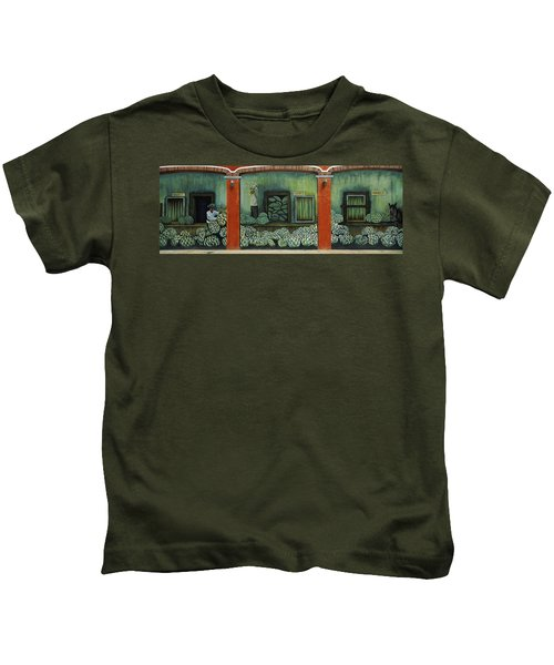 Mural On A Wall, Cancun, Yucatan, Mexico Kids T-Shirt by Panoramic Images
