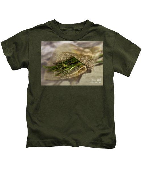 Green Asparagus On Burlab Kids T-Shirt by Iris Richardson