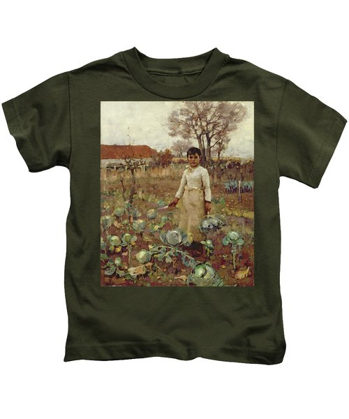 A Hinds Daughter, 1883 Oil On Canvas Kids T-Shirt by Sir James Guthrie