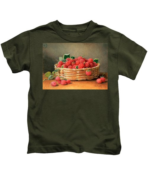 A Still Life Of Raspberries In A Wicker Basket  Kids T-Shirt by William B Hough