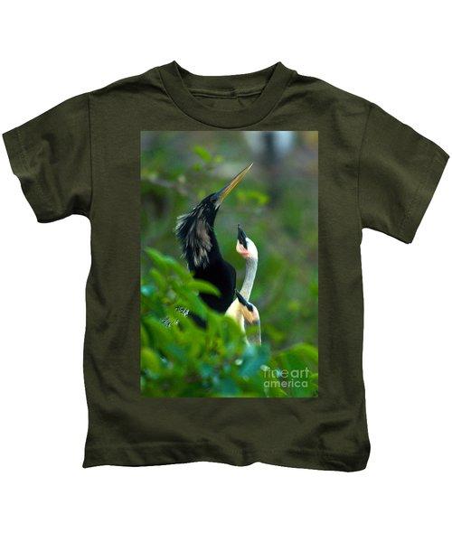 Anhinga Adult With Chicks Kids T-Shirt by Mark Newman