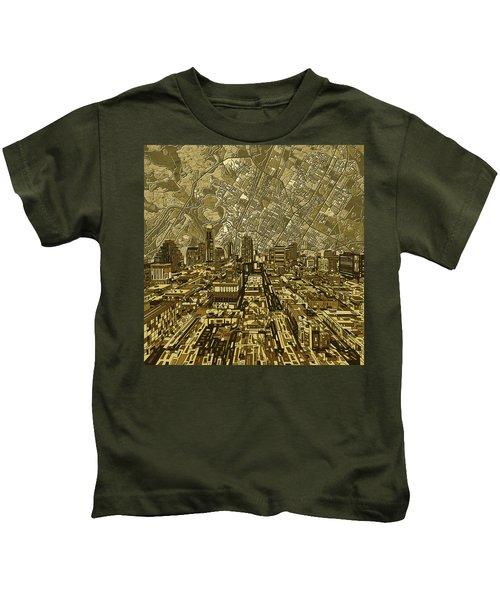 Austin Texas Vintage Panorama Kids T-Shirt by Bekim Art