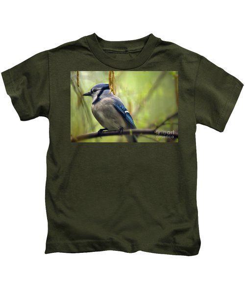 Blue Jay On A Misty Spring Day Kids T-Shirt by Lois Bryan