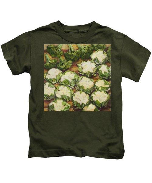 Cauliflower March Kids T-Shirt by Jen Norton
