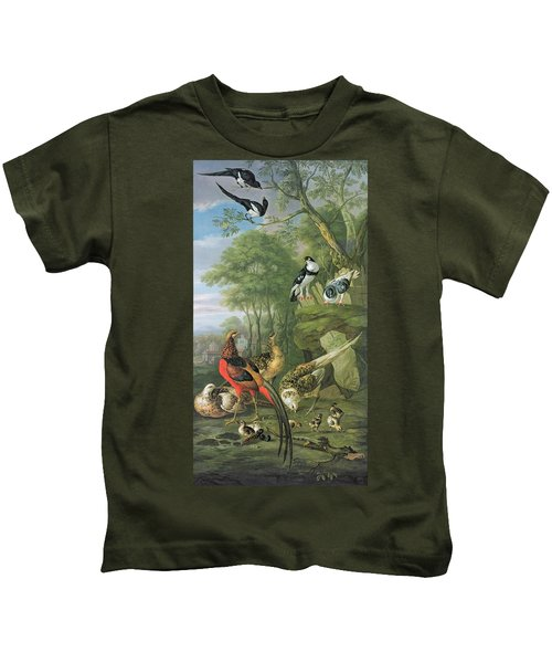 Cock Pheasant Hen Pheasant And Chicks And Other Birds In A Classical Landscape Kids T-Shirt by Pieter Casteels