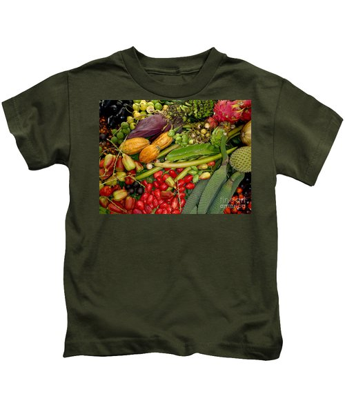 Exotic Fruits Kids T-Shirt by Carey Chen