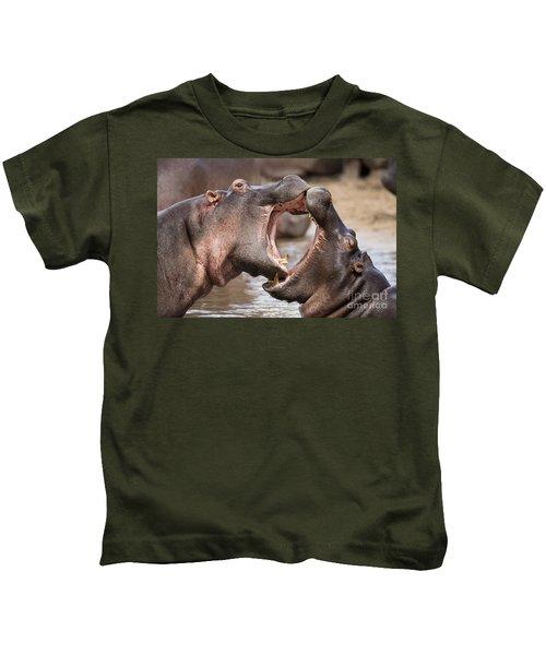 Fighting Hippos Kids T-Shirt by Richard Garvey-Williams