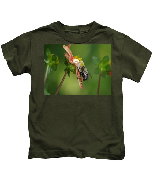 Goldenrod Spider Kids T-Shirt by James Peterson