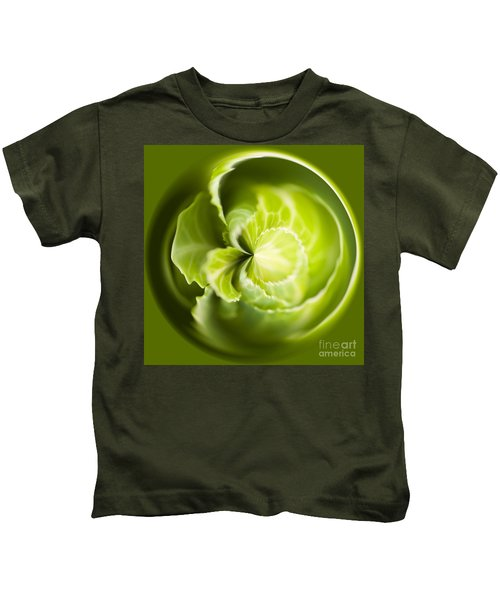 Green Cabbage Orb Kids T-Shirt by Anne Gilbert