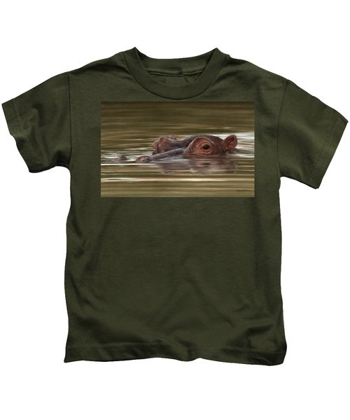 Hippo Painting Kids T-Shirt by Rachel Stribbling