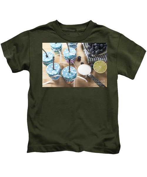 Homemade Blueberry Popsicles Kids T-Shirt by Juli Scalzi