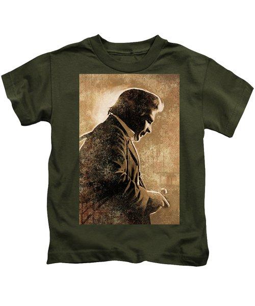 Johnny Cash Artwork Kids T-Shirt by Sheraz A
