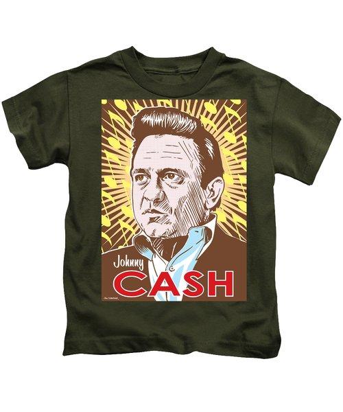 Johnny Cash Pop Art Kids T-Shirt by Jim Zahniser